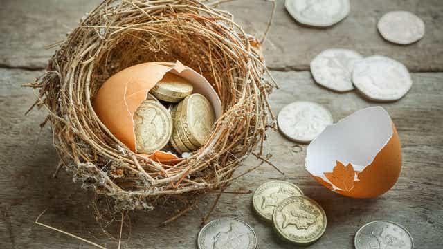 Broken egg full of coins in a nest