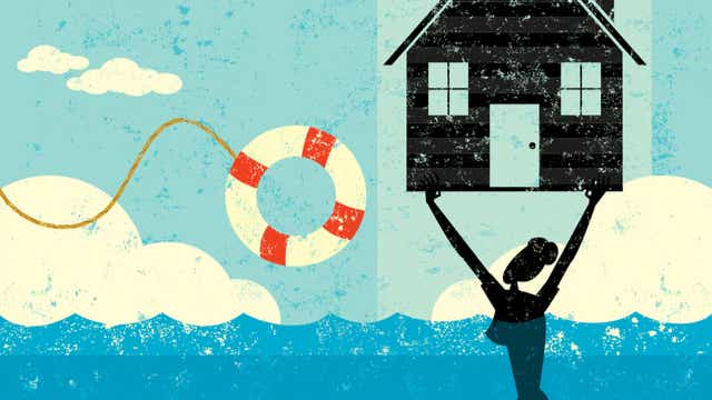 Illustration woman floating house