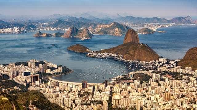 Spectacular aerial view over Rio de Janeiro as viewed from Corcovado.