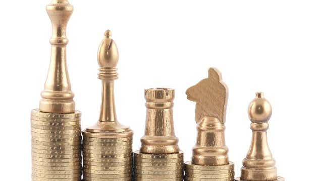 Chess pieces on coins