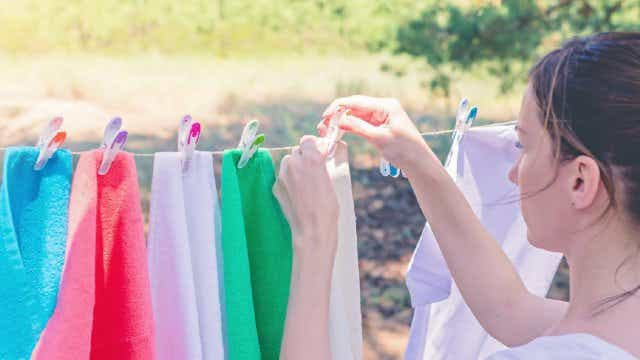 Young Woman Hanging Washing